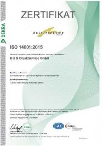 Zertifikat ISO 14001 - 2015