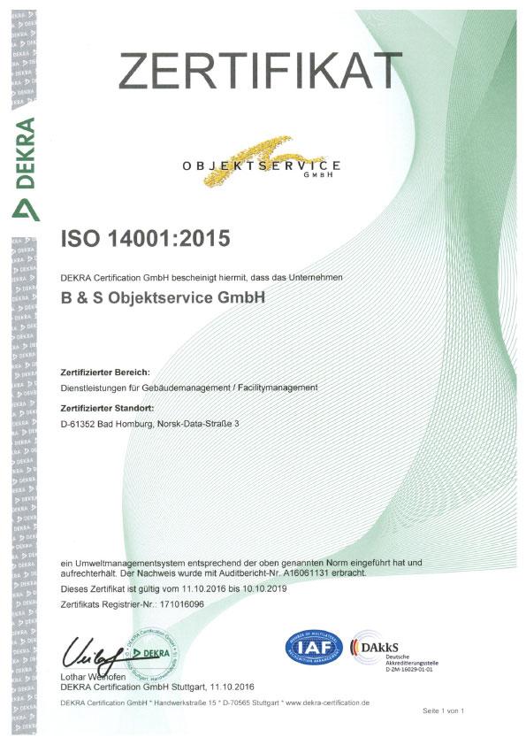 DEKRA ISO-Zertifikat 14001