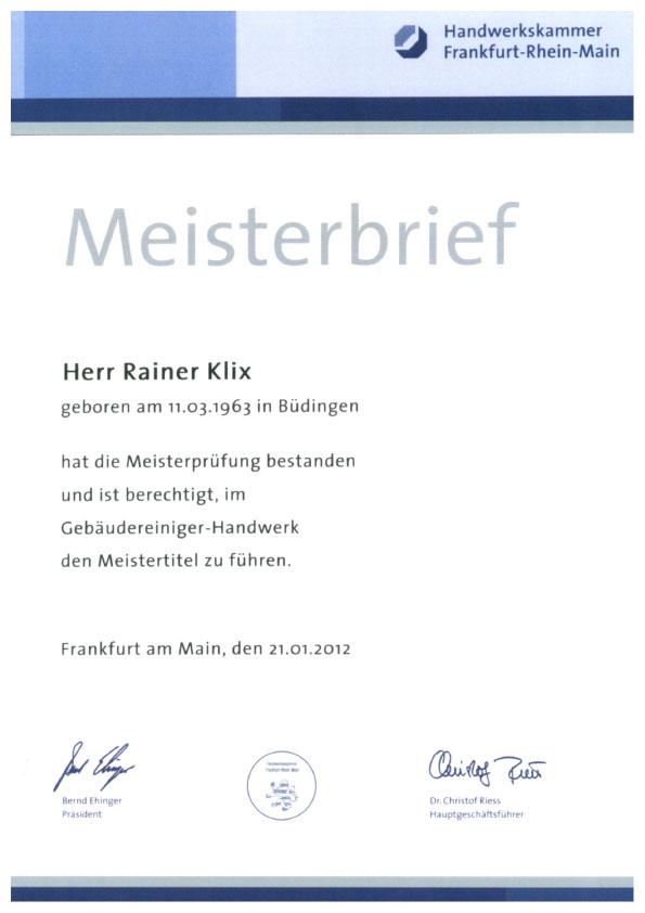 Meisterbrief Raimer Klix