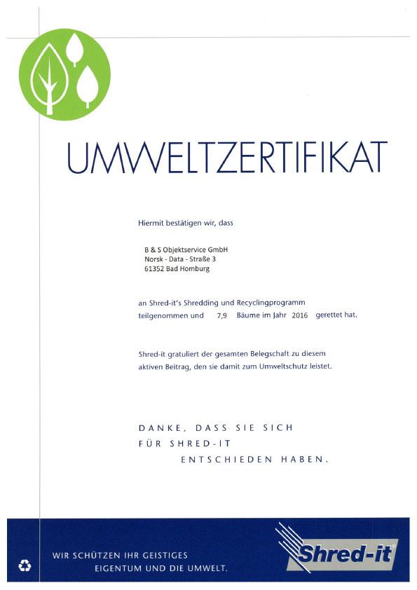 Umweltzertifikat